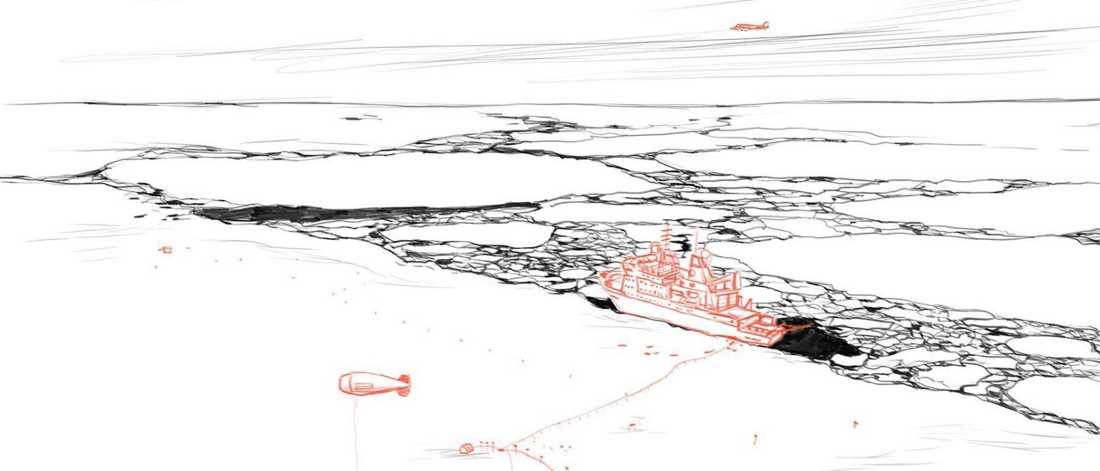Flieger und Polarstern im Eis (c)kheymach Expeditionszeichnen 2017