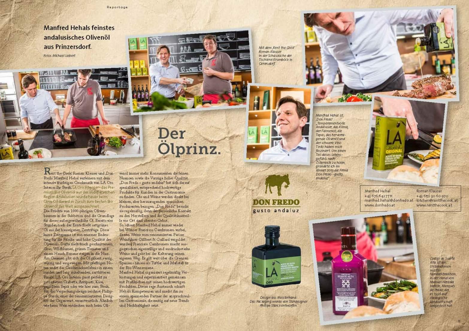 """Reportage über den Ölhändler """"Don Fredo"""". (c)kheymach Magazindesign"""