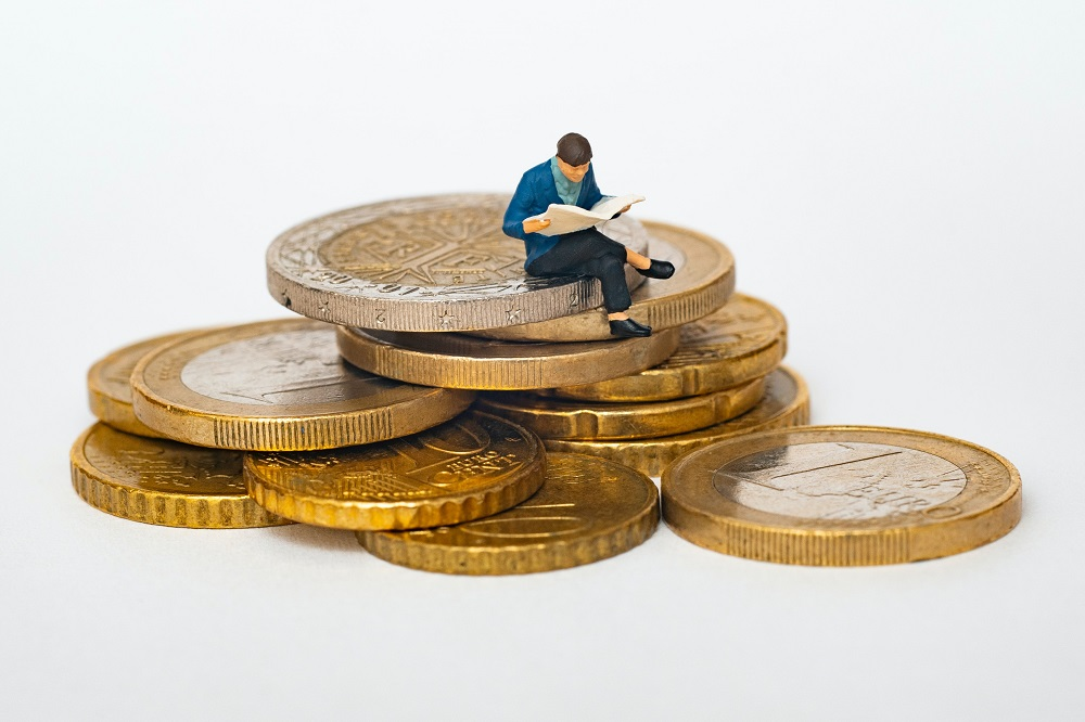 Man on coins