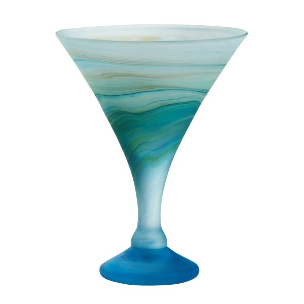 Aqua And Green Phoenician Glass Goblet - Icy Whirlpool Cocktail Glass