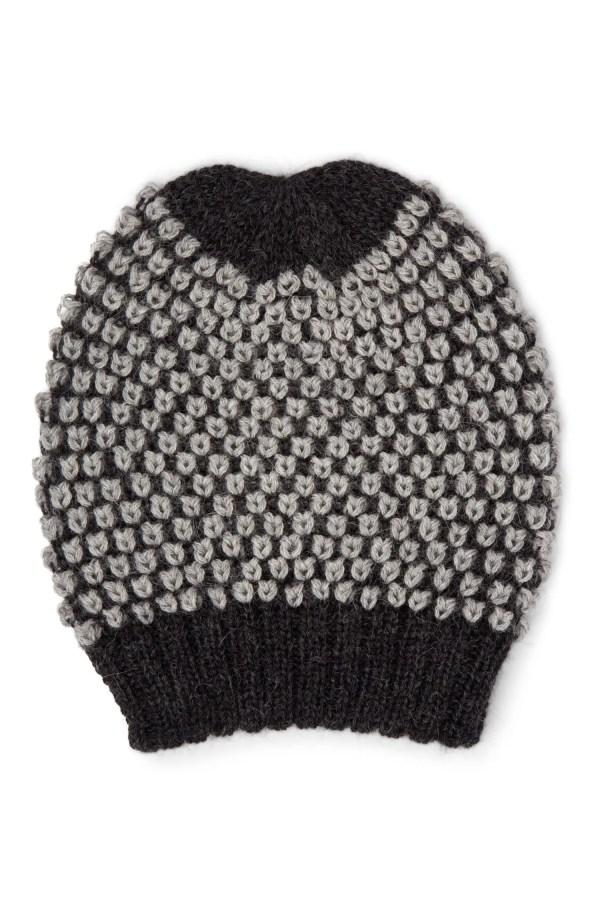 Charcoal And Gray Nubby Alpaca Hat - Nubby Knit Alpaca Hat