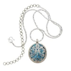 Gift Faux Turquoise Pendant - Mosaic Treasure Vase Pendant