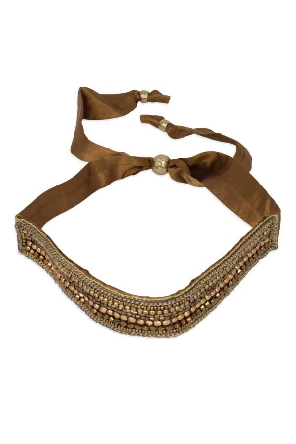 Gold And Brown Antiqued Beads Headband - Bead Beautiful Headband Choker