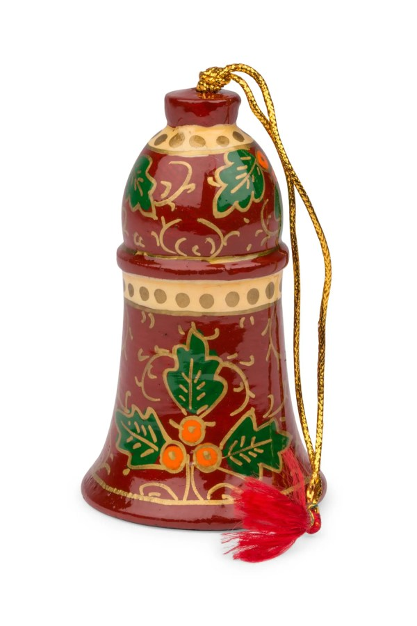 Hand Painted Metal Bell Ornament - Holly Jolly Bell Ornament