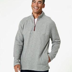 Men's Heather Grey 1/4 Zip Pullover M