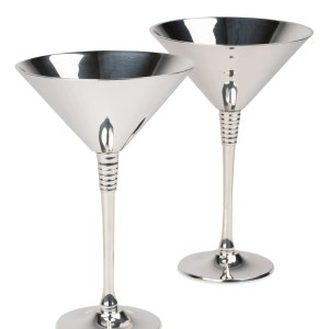 Set Of Two Silver And Gold Silver Plated Brass Goblets - Chic Cocktail Glass Set
