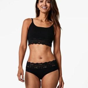 Women's Black Lace-Waist Brief 2X