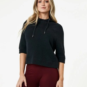 Women's Charcoal Heather Cropped Funnel Neck Pullover S