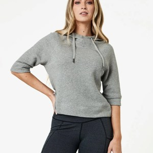 Women's Heather Grey Cropped Funnel Neck Pullover M