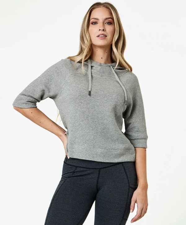 Women's Heather Grey Cropped Funnel Neck Pullover XL