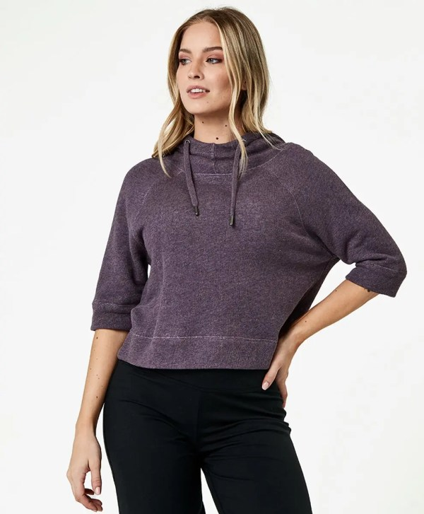 Women's Thistle Heather Cropped Funnel Neck Pullover M