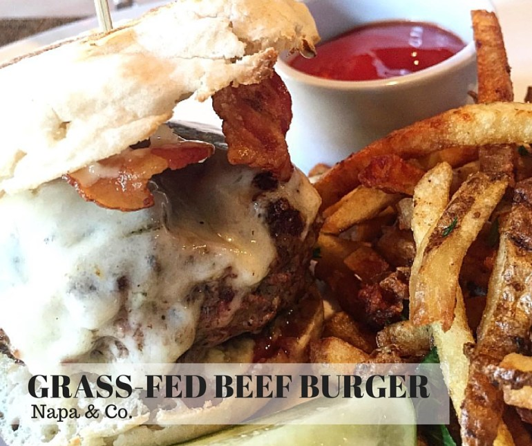 Napa & Co: GRASS-FED BEEF BURGER, FOIE GRAS BUTTER, SMOKED BACON, AGED WHITE CHEDDAR, TRUFFLE MAYO, SERVED ON ENGLISH MUFFIN