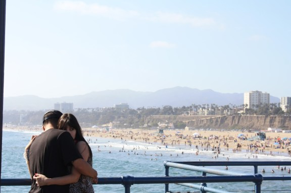 I love this anonymous candid photo I captured…so sweet; Santa Monica Pier