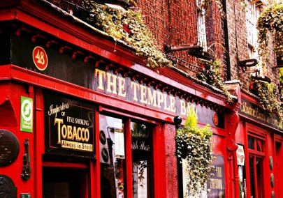Passing famous Temple Bar in Dublin, Ireland on the way to The Arlington Hotel.