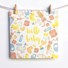 Hello Baby Blank Handmade Greeting Card