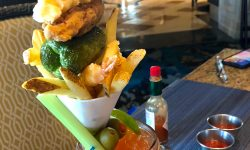 bloody mary topped with french fries, bacon, jalapeno at the Delano Hotel in Las Vegas, NV