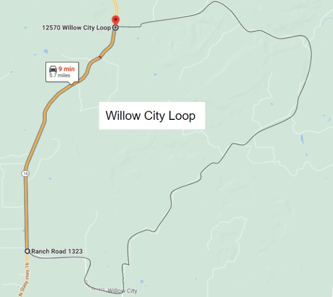 hill country cycling map of Willow City Loop