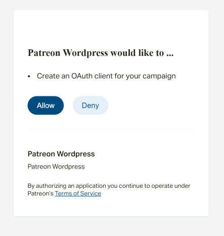 Add Patreon to Your WordPress Website - 3. accept the oAuth connection on Patreon
