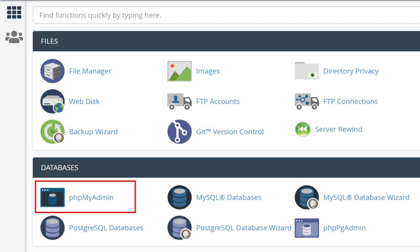 Move a Live WordPress Website to Localhost Server - 1. cPanel home - phpMyAdmin