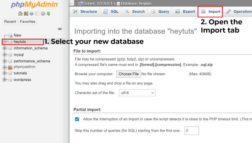 Move a Live WordPress Website to Localhost Server - 9. import the MySQL database backup from cPanel