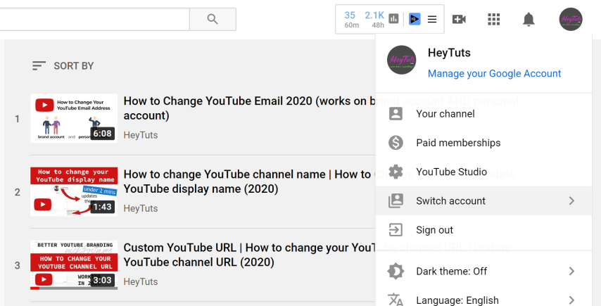 Change YouTube Email Address - 1 select the correct YouTube brand account