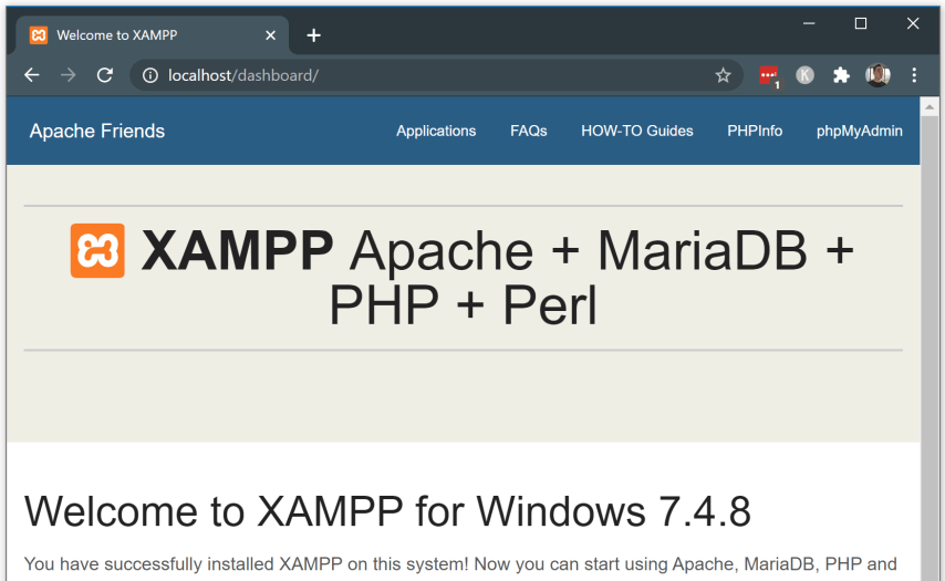 Setup a local web server - Install XAMPP - 5.1 open your localhost web server for the first time