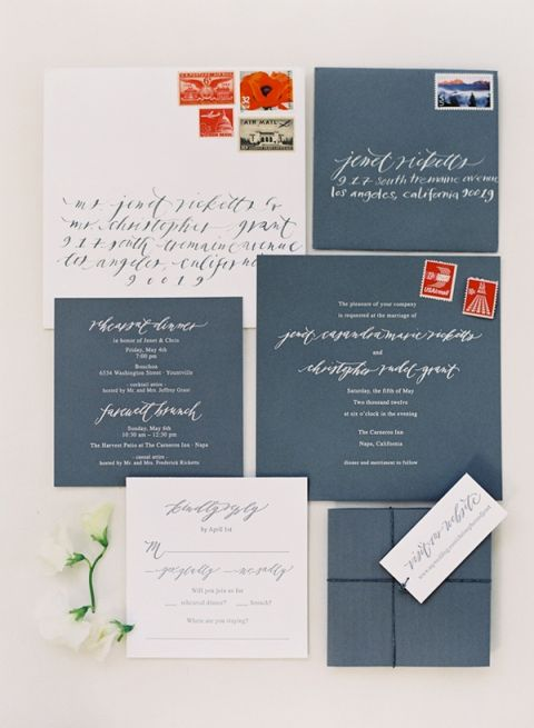 A Natural White Green And Brown Invitation Suite With Hand Written Calligraphy