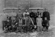 """History Mystery Photo #16. Over 100 years ago, Heyworth watched highschool football on Thanksgiving Day. """"The Hudson foot ball team and Heyworth team will have a game at Heyworth on Thanksgiving day."""" This news note appeared in The Heyworth Natural Gas on November 23, 1911. We know the picture shown is o the 1911 Heyworth H.S. team. Do you know the names of any of the team members? The name of the coach? Or the outcome of the game? If you do, please contact the library at 473-2313."""