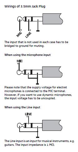 Wiring configuration for the EW Plug (35 mm)  Sennheiser