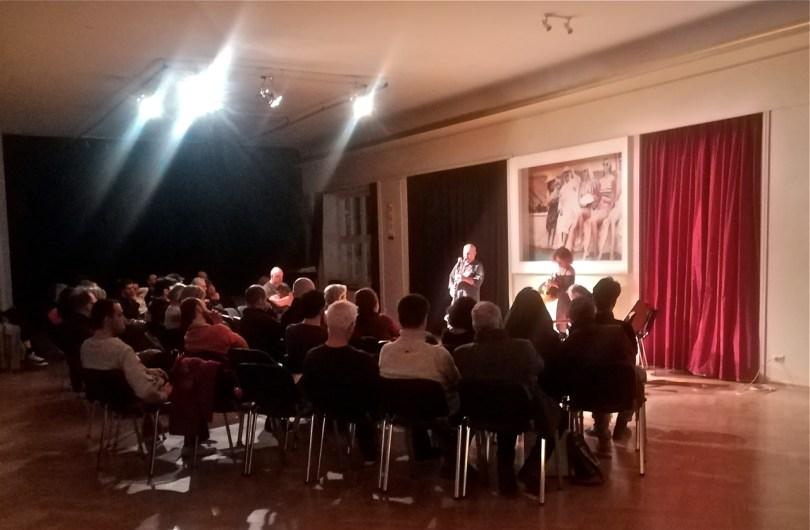 Konzert des Improvisationstrios von Elena Margarita Kakaliagou (Horn), Jean-Marc Montera (Gitarre) und Floros Floridis (Blasinstrumente). Dienstag, 26. März 2019, Institut français Berlin.