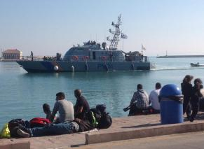 Refugees in the port of Chios. Photo courtesy of Stephen Katradis