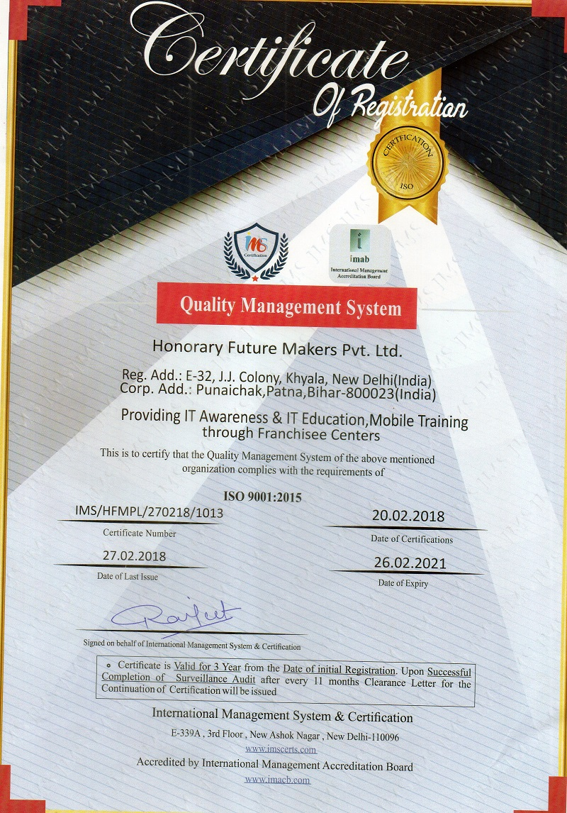 Welcome to Honorary Future Makers Pvt  Ltd    Certificate provided by the company to the student