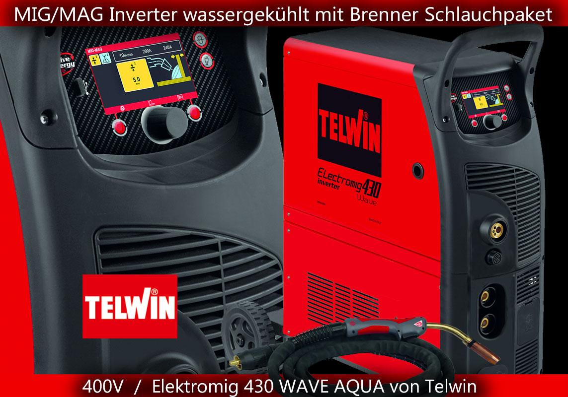 mig mag mig/mag schweissgerät inverter wassergekuehlt wasserkuehlung 400v dc lift elektromig 430 wave aqua telwin