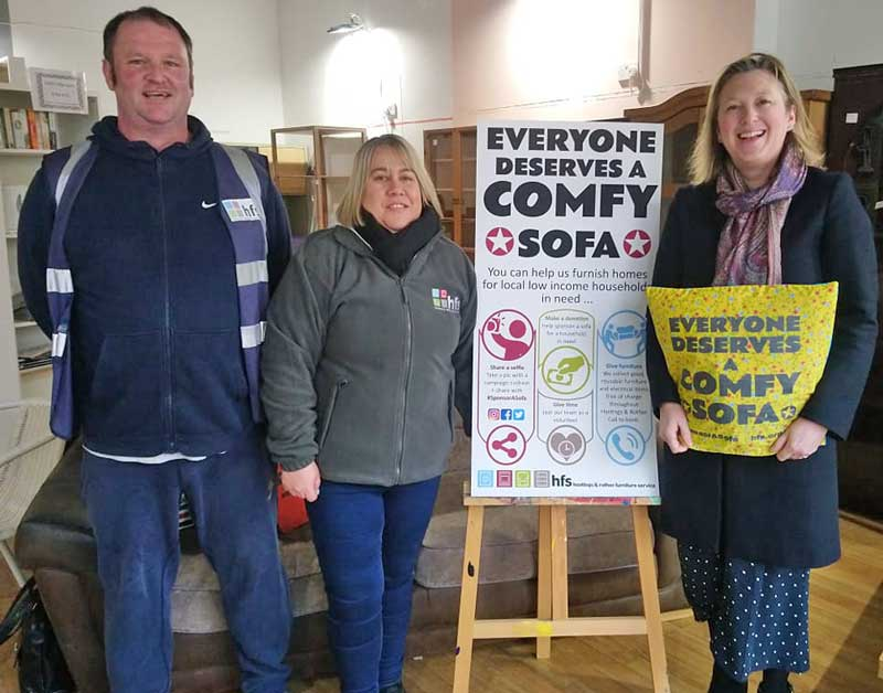 Hastings MP finds out about furniture poverty at HFS