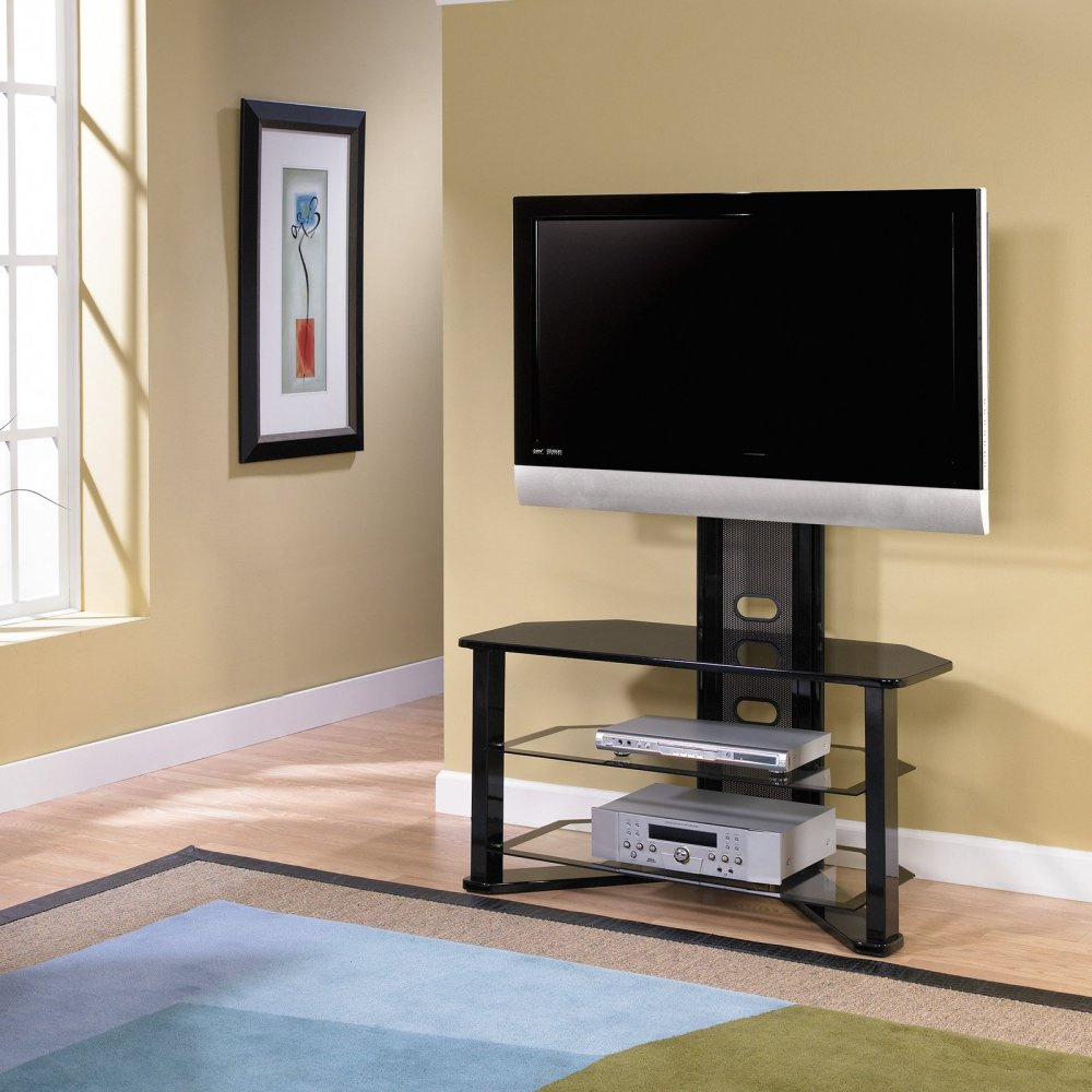 3 Glass Shelf Tv Stand With Mount