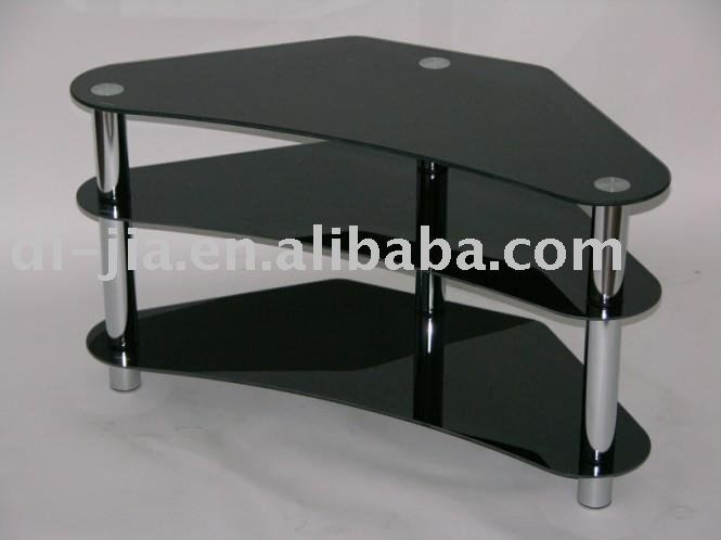 3 Tier Black Glass Tv Stand