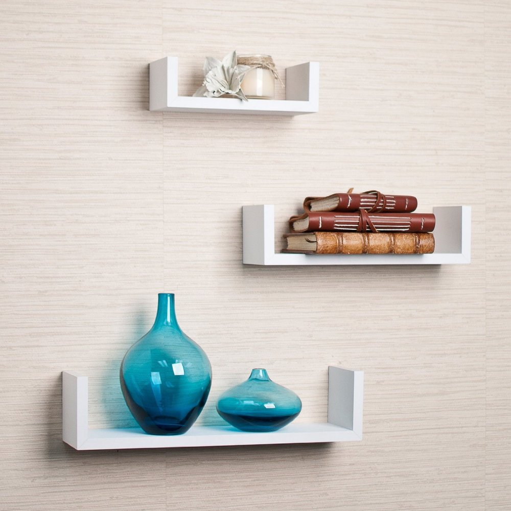 3 White Floating Shelves