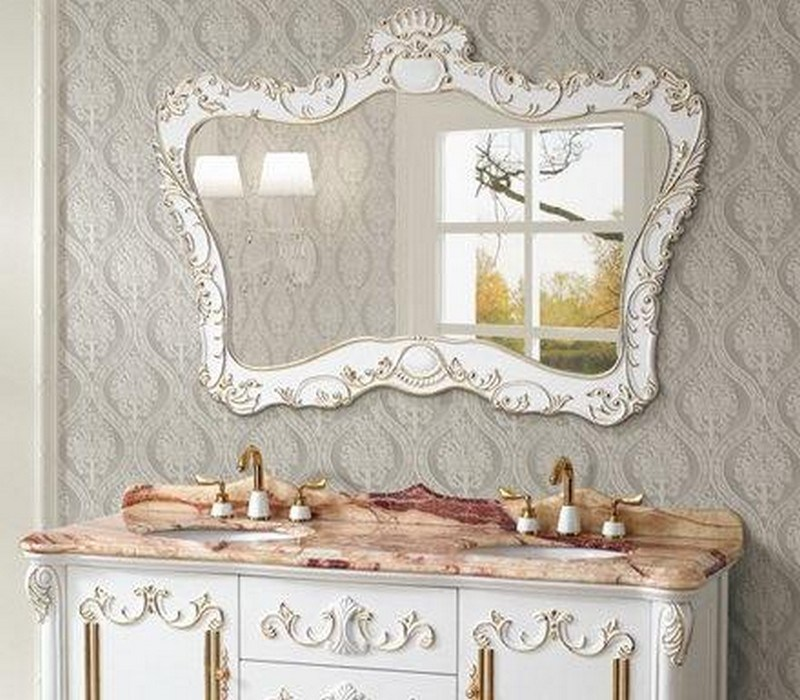 Antique White Bathroom Mirror