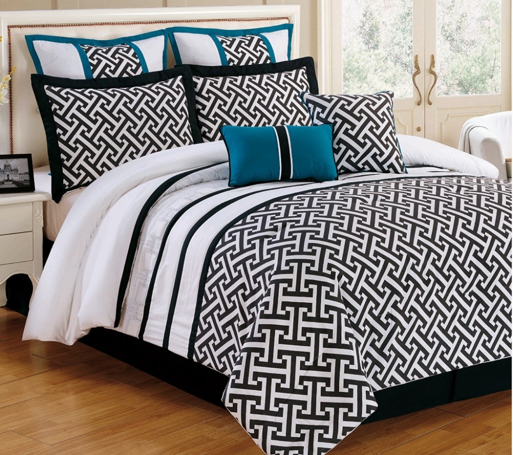 Aqua And Black Comforter Sets