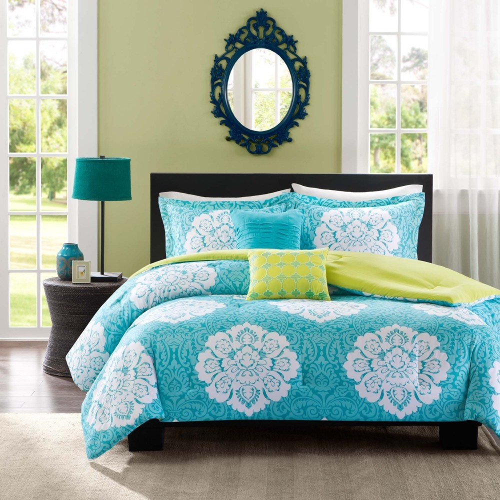 Aqua Lime Green Comforter Set