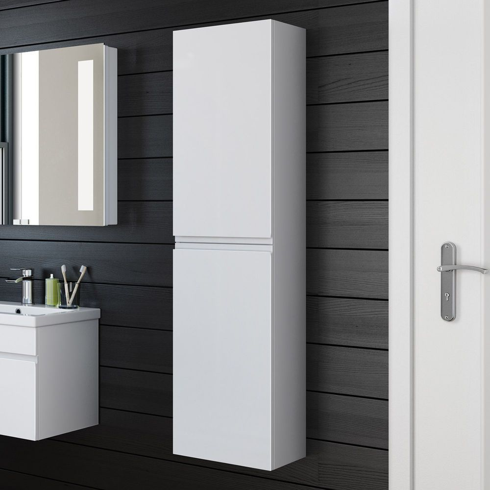 Bathroom Tall Cabinet White Gloss