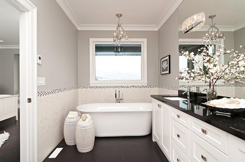 Bathroom White Cabinets Dark Floor