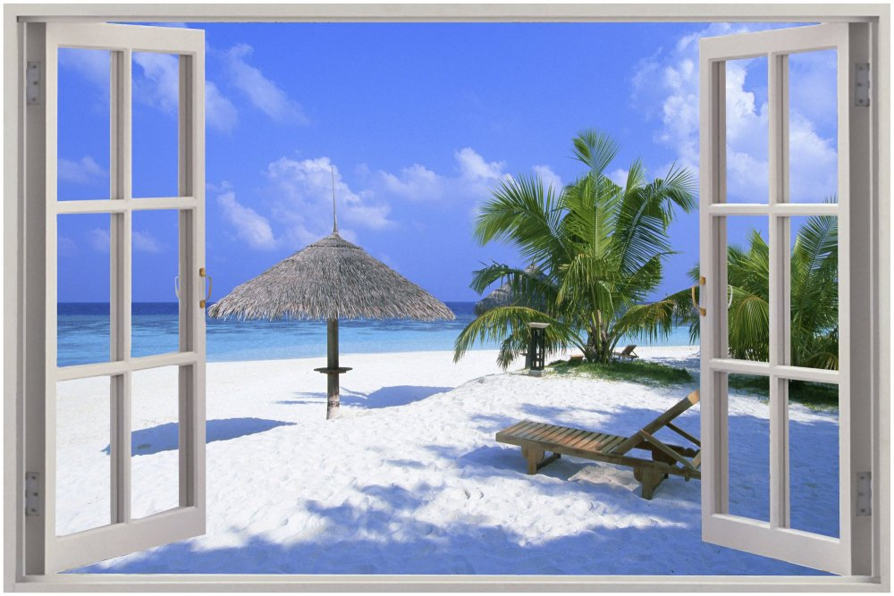 Beach Window Wall Decal