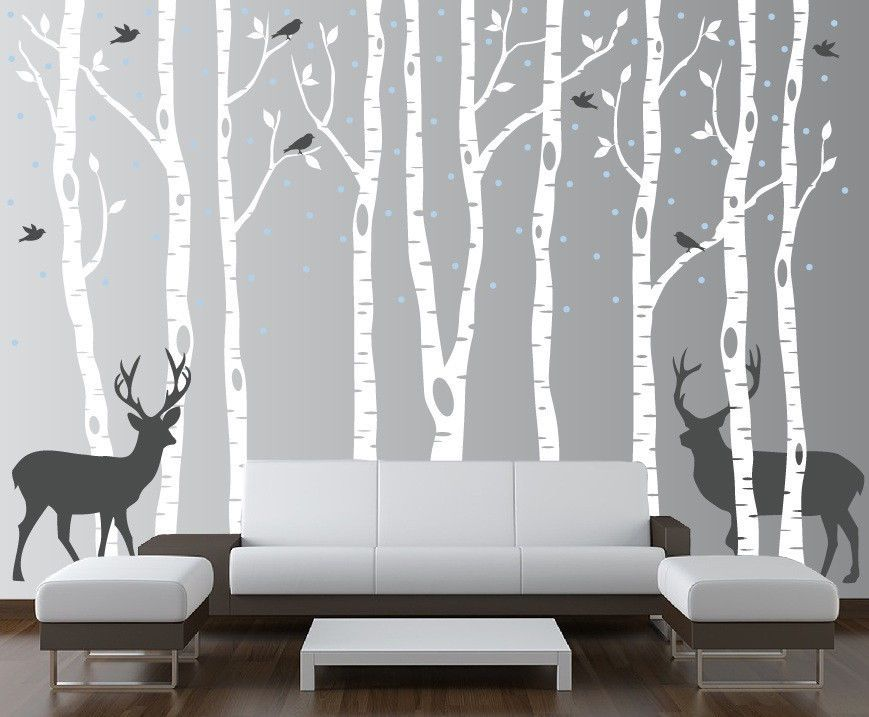 Birch Tree And Deer Wall Decal