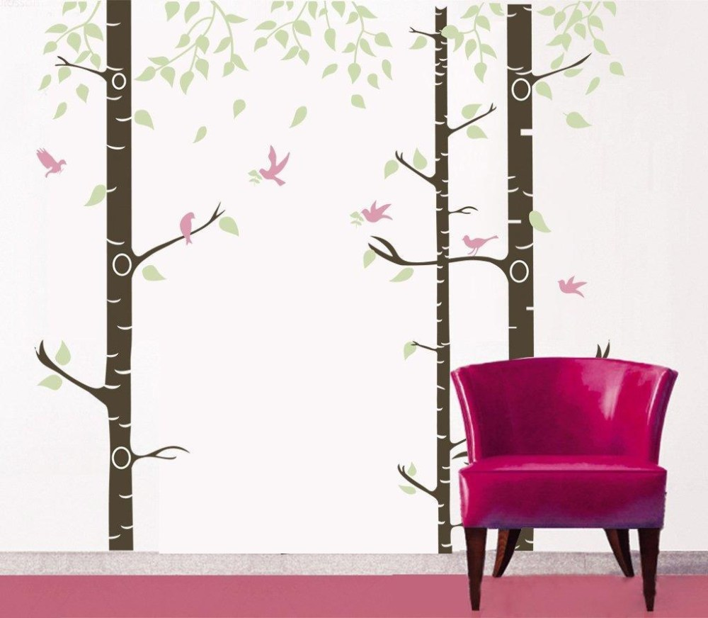 Birch Tree Wall Decal With Birds