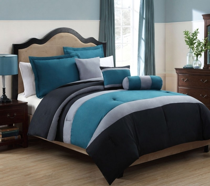 Black And White And Blue Comforter Sets