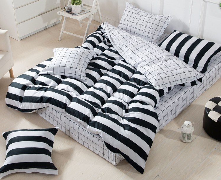 Black And White Striped Comforter Set
