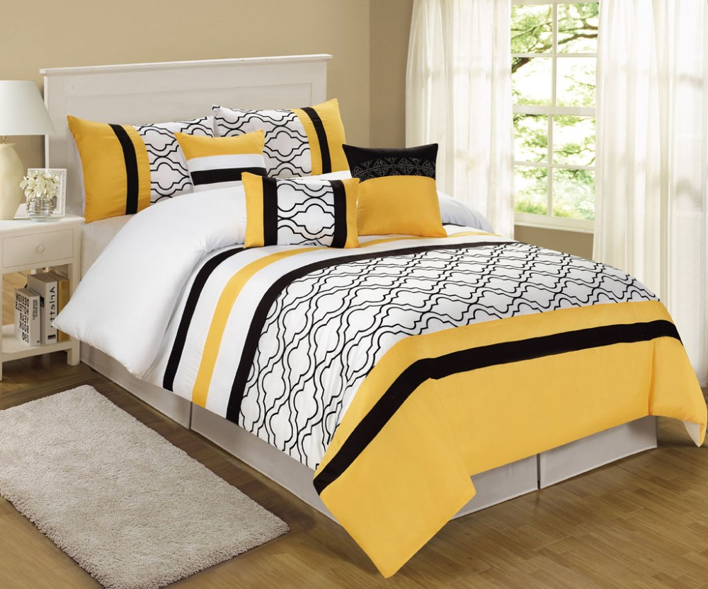 Black And Yellow Comforter Set
