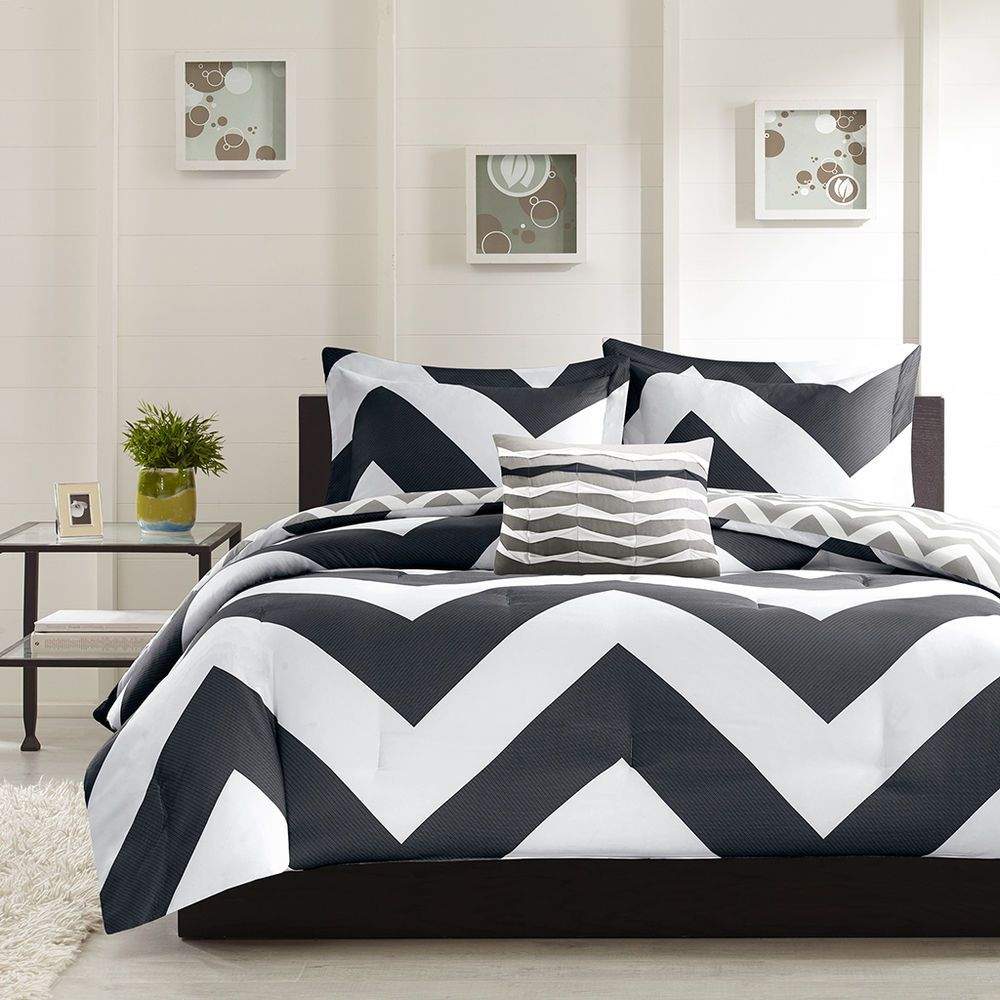 Black Chevron Comforter Set