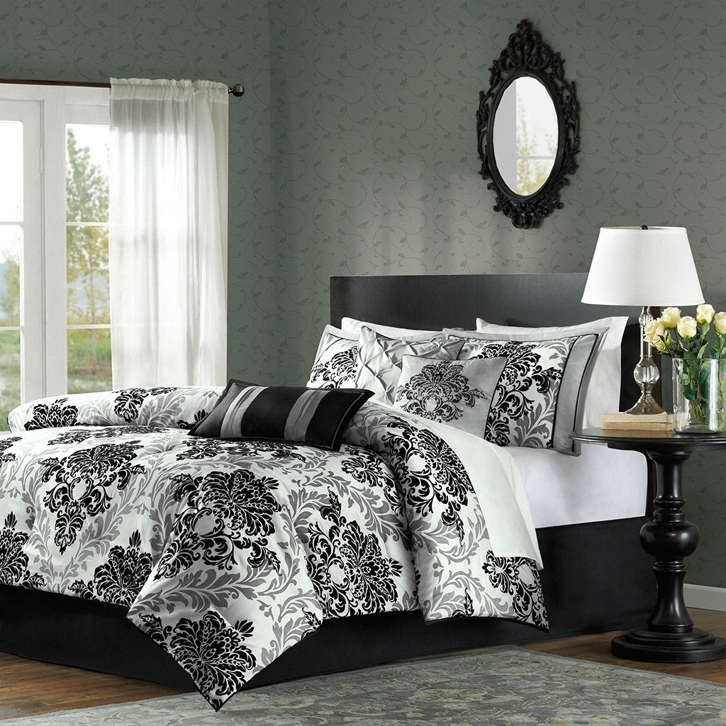 Black Damask Comforter Set